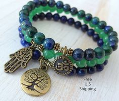 Yoga stack, set of 3, mala bracelets, Yoga bracelets, bracelet set, Reiki Charged, Lapis Lazuli, Aventurine, Chrysocolla, stacking bracelets