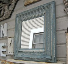 "Antique Tin Ceiling Mirror. 24"" x 24"" Circa 1910. FRAMED Mirror. Dresden blue. Architectural salvage."