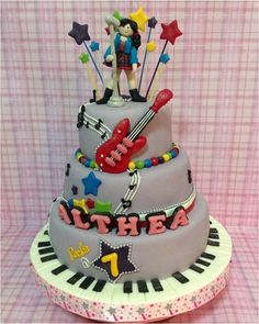 Rockstar 3 tiered cake - by Sweet tooth @ CakesDecor.com - cake decorating website