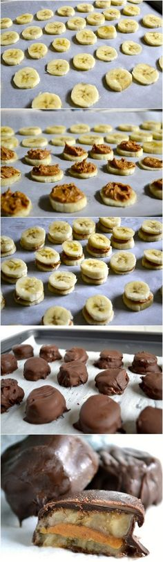 Chocolate Covered Peanut Butter Frozen Banana Bites | 10 Easy No-Bake Snacks | http://www.hercampus.com/health/food/10-easy-no-bake-snacks | Her Campus
