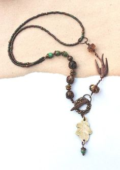 Autumn necklace with artbeads from Bohulleybeads and lizbeads by esferajewelry, $47.50 #esfera