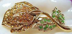 Danecraft Brooch Pin Signed Arum & Green Rhinestones Rose Bud #danecraftbrooch #rosebudpin #vintagejewelry