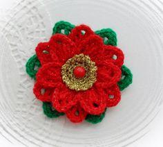 HAND CROCHET BROOCH APPLIQUE GLITTER  FLOWER  *CHRISTMAS FLOWER POINSETTIA in Crafts, Crocheting & Knitting, Other Crocheting & Knitting   eBay