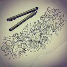 Diadem tattoo sketch by AFiskie...love the sea horse idea.  Would add pearls & starfish