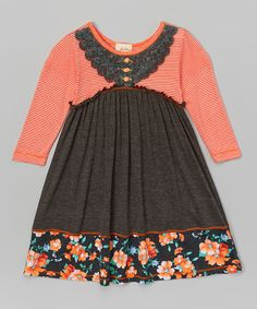 Loving this Charcoal & Coral Stripe Dress - Girls on #zulily! #zulilyfinds
