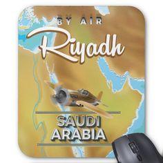 Riyadh Saudi Arabia vintage travel poster Mouse Pad