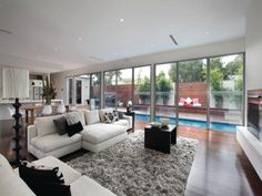 windows & pool view.