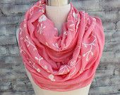 Fashion scarf  with   embroider flowers