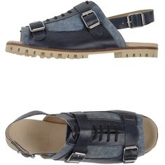Deux Souliers Sandals (115 CAD) ❤ liked on Polyvore featuring shoes, sandals, dark blue, lug-sole shoes, real leather shoes, leather shoes, leather buckle sandals and flat sandals