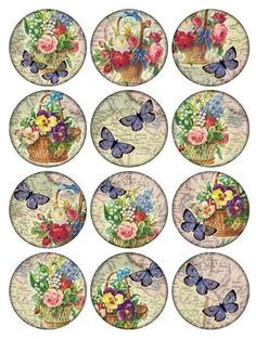 Vintage Printable Tags Digital Collage Sheet flowers and butterflies large circle images round i Vintage Labels, Vintage Tags, Vintage Prints, Decoupage Vintage, Vintage Paper, Decoupage Art, Printable Tags, Printables, Printable Vintage