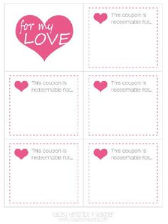 Free Printable Love Coupons Page Could Put In A Stocking For