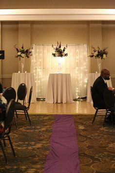 Lighted curtain wedding backdrop with eiffel vase arrangements. Vase Arrangements, Curtain Lights, Our Wedding Day, Got Married, Valance Curtains, Backdrops, Home Decor, Decoration Home, Room Decor