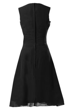 Sunvary Black V Neck Knee Length Chiffon Bridesmaid Prom Dresses Wedding Guest Gowns Homecoming Cocktail Dress US Size 20W- Black
