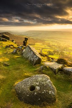 Curbar Millstone Sunset, Peak District, UK