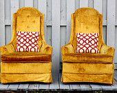 High Back Mustard Yellow Crushed Velvet Vintage Slipper Chair