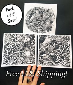 New to Atramentaria on Etsy: Three (3) Pack of Songbird Cards - Celtic Knot Wreath Songbird Bramble Blank Greeting Card - Black and White Ink Drawings and Details (8.60 USD)