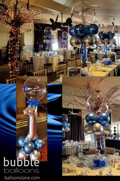 customize bubble balloons bouquet with silver chrome latex and blue chrome latex balloons, blue and satin streamer and mini balloons balloon weight connecting with fish wire for floating in the air look, table height balloon decorations #chromeblueballoon #chromesilverballoon #bubbleballoon Big Round Balloons, Light Up Balloons, Clear Balloons, Balloon Lights, Bubble Balloons, Printed Balloons, Blue Balloons, Balloon Garland, Latex Balloons