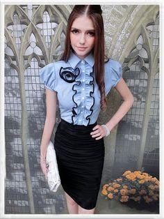 Morpheus Boutique  - Blue Ruffle Cap Sleeve Chiffon Rose Shirt