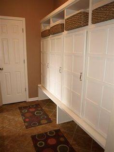 Lockers in mudroom. Home Lockers, Mud Rooms, Garage Storage, Storage Ideas, Laundry Room, Furniture Ideas, Beach House, House Plans, House Ideas