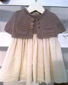 Discover thousands of images about Hand knitted dress for baby girl Knitting For Kids, Crochet For Kids, Baby Knitting, Crochet Baby, Knit Crochet, Baby Outfits, Kids Outfits, Look Fashion, Kids Fashion