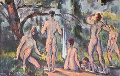 Paul Cézanne.  Badende. 1890-1894, Öl auf Leinwand, 26 × 40 cm. St. Petersburg, Eremitage. Frankreich. Postimpressionismus.  KO 01043
