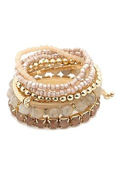 dca6a79cc3c  11.99 - RIAH FASHION Multi Color Stretch Beaded Stackable Bracelets -  Layering Bead Strand Statement Bangles