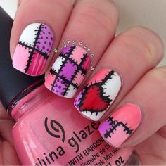 """This stitches nail design is perfect for every girl who's got a bit of skills on nail art as well as who likes having different colors and designs for each nail. Choose 3-4 colors you will use and always have that black nail polish to draw the """"stitches"""". It's important to have a think brush for drawing and making designs."""