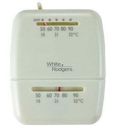 Economy Mechanical Thermostat by White-Rodgers. $18.99. Compatible with most single-stage heating/cooling systems. Works with most 24 volt and millivolt systems. Mercury free. Adjustable heat anticipator and bi-metal thermostat. Also ideal for RVs (Recreational Vehicles) and mobile homes. Decorative wallplate, mounting hardware and installation guide included. No. M100: Voltage: 24V, Color: Off-White, Pkg Qty: 1, Package Type: Clamshell