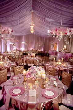 Blush pink table scape with sequin runners Tablescapes