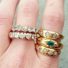 Vintage gold and diamond bands wedding bands from Broken English