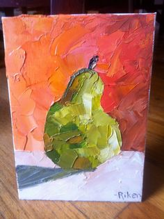 Pop of Pear Original Oil on Canvas 5x7 by melissariker on Etsy