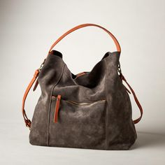 """BONDI BAY HOBO BAG--This relaxed, suede and leather hobo bag is chic enough for a night on the town and practical enough for every day. Italy. Exclusive. Approx. 13-1/3""""W x 6""""D x 13-3/4""""H."""