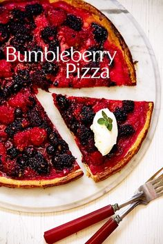 Bumbleberry Pizza with Oregano and Mascarpone/// There are just so many things wrong with that phrase. Starting with the word bumbleberry. It's not a real berry (as far as I know) But bumbleberry was what my mother called anything that was a jumble of berries. Which sounds reasonable. It might even be a real thing, but my mother made up words all the time. So who knows?