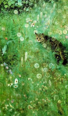 Bruno Liljefors (1860 - 1939), Cat in the Summer Meadow
