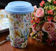 New KATIE ALICE English Garden SHABBY CHIC Insulated TRAVEL MUG With Lid