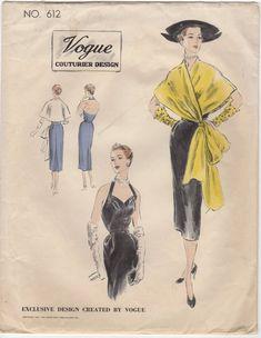 Vogue Couturier Designer 612 pattern - Elegant Halter Neckline Backless Sheath Cocktail Dress Evening Wear Cape Stole from the 1950's