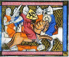 Fighting knights.  From:  'Liars dámour de vertu et de bonheureté', Flanders, end 13th century, Brussels, Royal library of Belgium.
