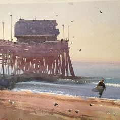 Daniel Marshall Detail from the piece at Newport Beach Pier #watercolor jd