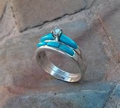 turquoise wedding and engagement rings sets
