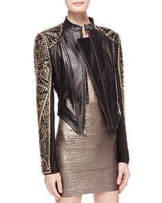 $3,500, Studded Asymmetric Leather Jacket by Herve Leger. Sold by Neiman Marcus. Click for more info: http://lookastic.com/women/shop_items/76578/redirect