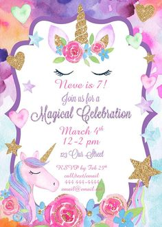 Unicorn Party Birthday Invitation