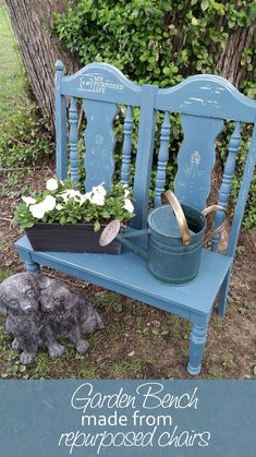 Garden Bench made from 2 Old Chairs www.heirloomtraditions.mybigcommerce.com Use code DSD for 10% off