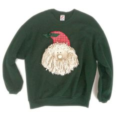 DIY Shaggy Mop Beard Santa Tacky Ugly Christmas Sweatshirt