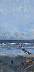 Vanaf het duin | schilderij van een landschap in aquarel van Herman van Hoogdalem | Exclusieve kunst online te koop in de webshop van Galerie Wildevuur