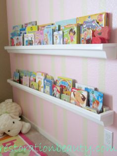 rain gutters for displaying books... I need to get some for Braxson's room :)