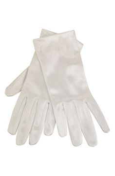 Girl's Sorbet Stretch Satin Gloves - White