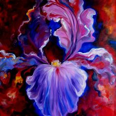 Purple Iris ABSTRACT by Marcia Baldwin Abstract Flower Art, Flower Artwork, Art Flowers, Flower Prints, Flower Art Images, Kunst Portfolio, Famous Artists Paintings, Iris Art, Iris Painting
