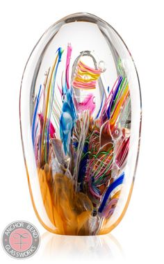 Reef Paperweight Tall by Anchor Bend Glassware. American Made. See the designer's work at the 2015 American Made Show, Washington DC. January 16-19, 2015. americanmadeshow.com #paperweight, #artglass, #americanmade