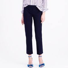 """J Crew Campbell Capri in Navy NWOT The """"where'd you get that pant"""" pant—it has the perfect amount of stretch, a little kick at the hem and looks good on just about everyone. Expect compliments from friends, coworkers and probably complete strangers. Wool/viscose/poly/elastane. Dry clean. J. Crew Pants"""