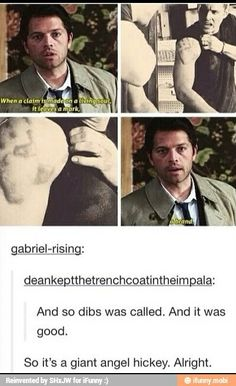 Like when Cas gripped Dean tight and raised him from perdition? | Oh gosh...giant angel hickey...XD